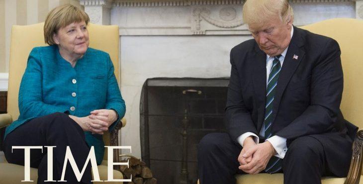 Трамп рассказал, почему не пожал руку Меркель. Видео.